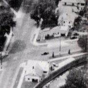 An aerial photo from the 1940s with the added service bay visible on the right facing Park Street.