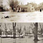 Two views of the Triangle Service station and 341 East Alder Street taken during the Mill Creek flood of March 31, 1931. Top: Jo Winn photo, courtesy Joe Drazan; Bottom: Whitman Archives.