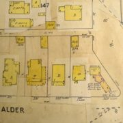 Figure 2. 1905 Sanborn Fire Map updated, showing a larger footprint for the house and the service station. Note the later addition of a bay to the east of the service station, probably used for servicing cars.