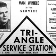 A 1947 advertisement for the Triangle Service Station. Courtesy Joe Drazan.