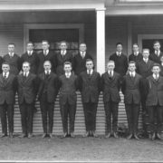 Beta Theta Pi during the 1917-1918 academic year. Future Supreme Court Justice William O. Douglas is in the front row fifth from right. Whitman Archives photo.