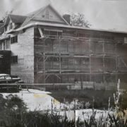 Construction of the new dormitory wing, 1957. Gamma Zeta of Beta Theta Pi photo.