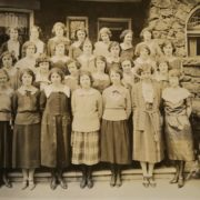 Phi Mu members on the porch of Langdon House, 1925. Whitman Archives photo.