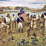 Lewis & Clark meeting Yellepit at Wallula, painting by Norman Adams, 2000. Courtesy of Fort Walla Walla Museum