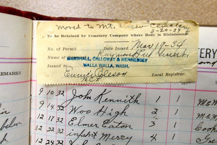 Poor Farm Record of Burials - Page 5 Detail