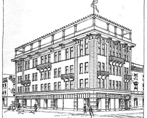 A line drawing of architect Carl L. Linde's proposal for the new Elks' Temple, as published in Up-To-The-Times, April 1912. Note the drawing depicts a building of just four stories.