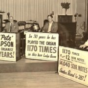 """The March 1958 """"roast"""" of long-time Elks' organist Ray """"Pete"""" Thompson. Union-Bulletin photo, courtesy Whitman Archives."""
