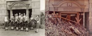Left, the Elks' drum corps in an early photo of the entrance to the Elks' Temple. Courtesy Elks' Lodge 287. Right, the entrance in a final photo from July 1973, showing fallen rubble from upper floors. Courtesy Elks' Lodge 287.