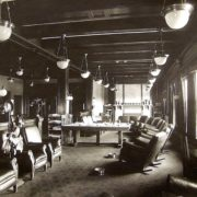 The reading alcove of the third floor Club Room. Note the fireplace, the face of which was tiles, each one featuring the name of a member/donor to the lodge. Courtesy Joe Drazan