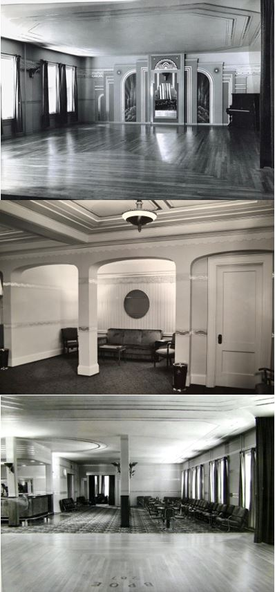 A trio of photos depicting the 1938-39 remodel, displaying Streamline Moderne with touches of Hollywood Regency. Left top and bottom are two views of what probably had been the fifth floor Banquet Room. Top right is what perhaps might be a ladies lounge, presumably also on the fifth floor. All courtesy Joe Drazan.