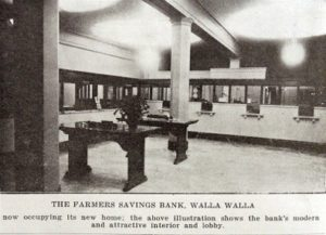 The remodeled interior of Farmers Bank in 1920.
