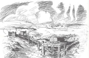 Artisit's historic depiction of Cayuse villge seen from Whitman Mission grist mill. National Park Sevice sketch by Rivers.