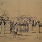 Proposed entrance gate for Anderson mansion by MacNaughton, Raymond & Lawrence of Portland in 1909, unbuilt. Whitman Archives ink drawing.