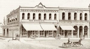 Johnson, Rees & Winans' 1876 building with William Stephens' building to the right.