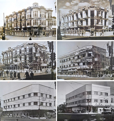 "These six photos taken by Walla Walla photographer Earl Roberge depict the progress in the dismantling of the unrestrained Rees-Winans Block/Farmers Exchange of 1890 to the humdrum ""modern"" Jones Building in 1951. Courtesy Cameron and Chris Kontos."