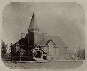 The third building of First Congregational Church shortly after completion. Note the wood framing for the sidewalk, still waiting to be poured. Photo courtesy of Whitman Archives.