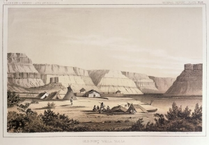 Nez Perce camp outside walls of Old Fort Walla Walla on the Columbia River, Washington. Engraving by John M. Stanley, 1853. [University of Washington Library Archives #NA4169]