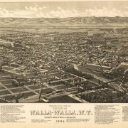 1884 bird's eye Map of Walla Walla. Courtesay of the US Library of Congress