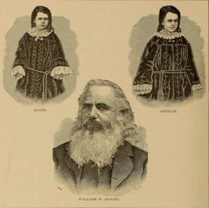 "Sketches of William Davies & his two children from  ""Historic Sketches of Walla Walla County,"" F. Gilbert, 1882."