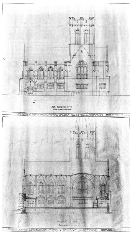Top South Facade Note The Elaborate Tracery Of Pointed Arch Windows Bottom Longitudinal Section Contemplated Spire Atop Tower